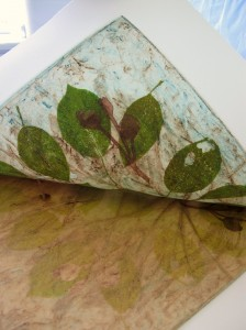 2nd plate being printed with it's tissue paper 'pears'.