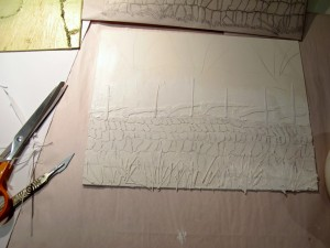 Starting the collagraph plate, Devon Hedge Bank, Lynn Bailey